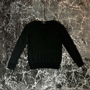 Black V-Neck Semi Fitted Sweater